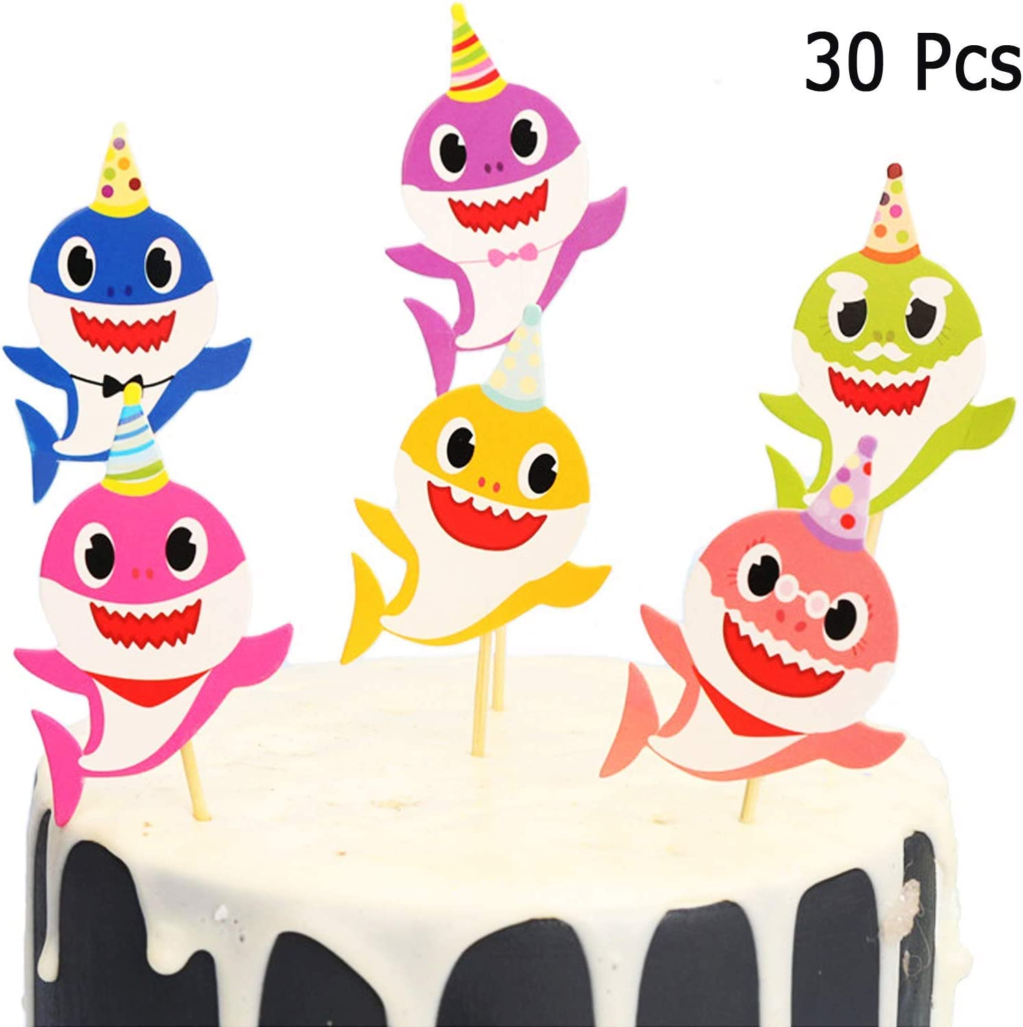 Baby shark cupcake toppers