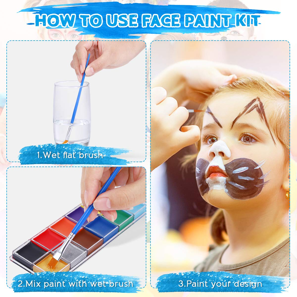 Face Body Paint, Halloween Cosplay Makeup Face Painting Kits for Kids and Adults, Face Paint Kit for Sensitive Skin