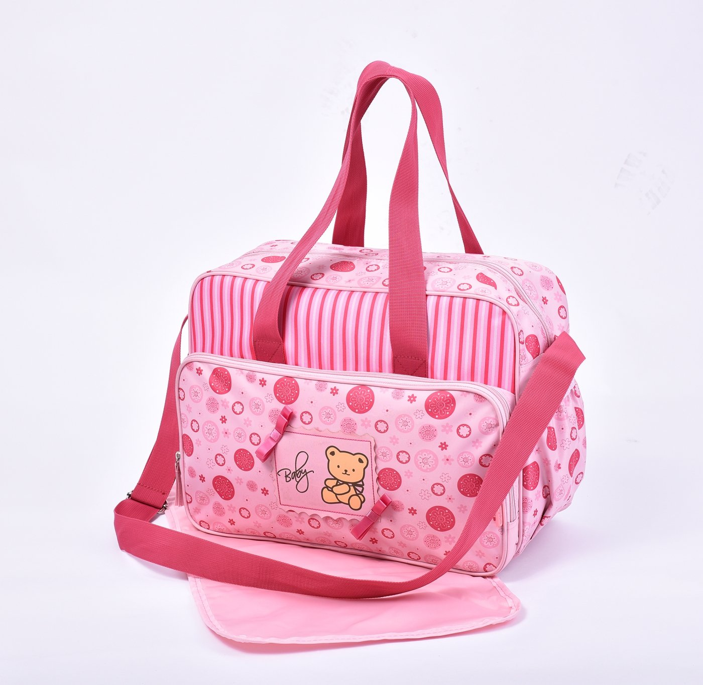 2160 Water Proof Waterproof Large Baby Nappy Changing Bags Diaper Hospital Bag (2160-Pink Bear)