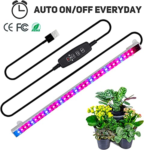 Full Spectrum led Strip, TBTeek Grow Light Strip Light with Auto ON Off Function, 3 9 12H Timer, 5 Dimmable Levels and 3 Switch Modes for Indoor Plants, Red Blue Spectrum