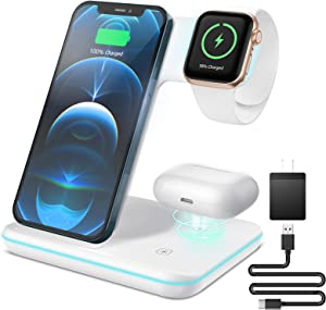 ZEBRE Wireless Charger, 3 in 1 Qi-Certified 15W Wireless Charging Station Dock Compatible with All Apple Watch, AirPods Pro, Stand Compatible with iPhone 12/11 XS/XR/X/8 S10 S9 S8, White