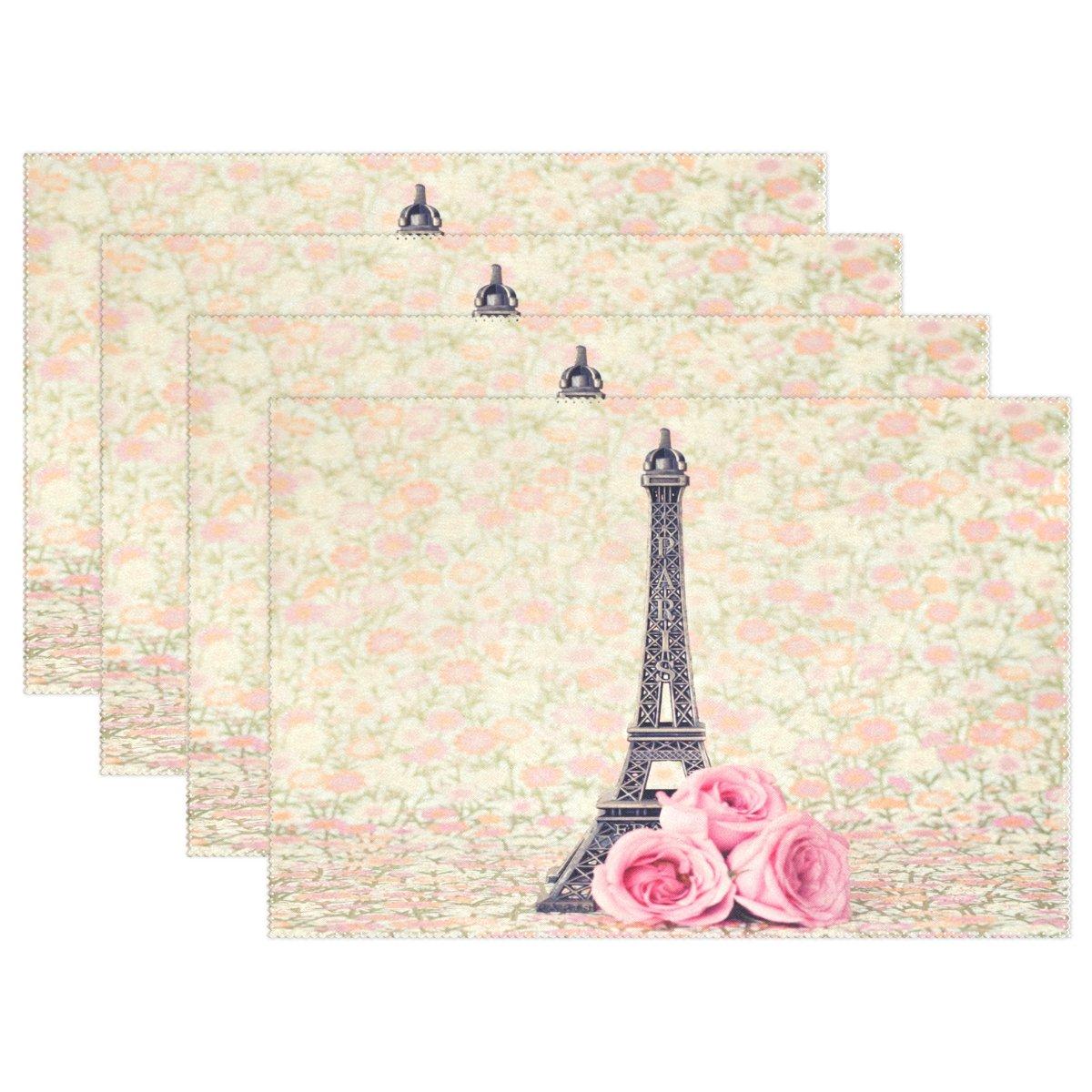 Wozoローズパリエッフェル塔プレースマットテーブルマット、フランスフローラル印刷12