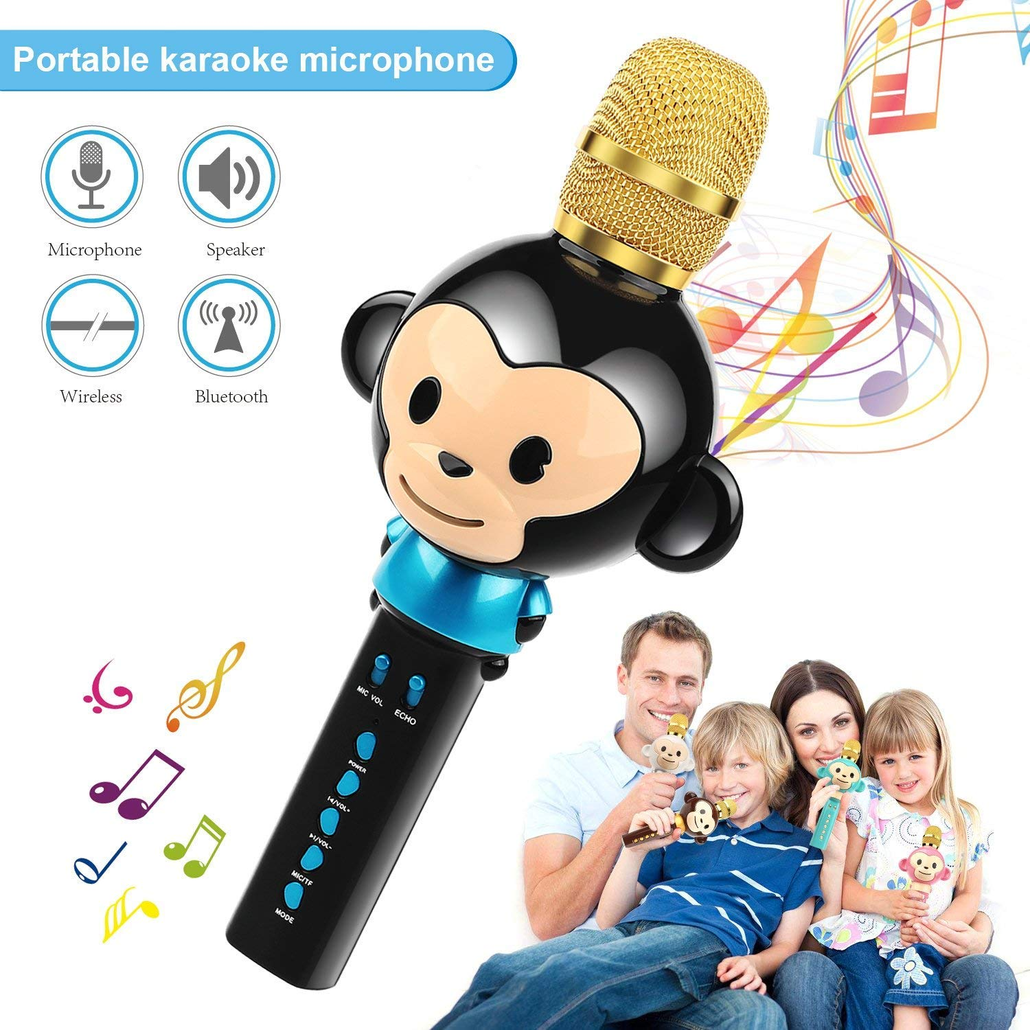 LingHui Kids Microphone Wireless Bluetooth Karaoke Microphone, 3-in-1 Portable Handheld Karaoke Mic Home Party Birthday Speaker Machine for iPhone/Android/iPad/Sony,PC and All Smartphone (Black) by LingHui (Image #1)