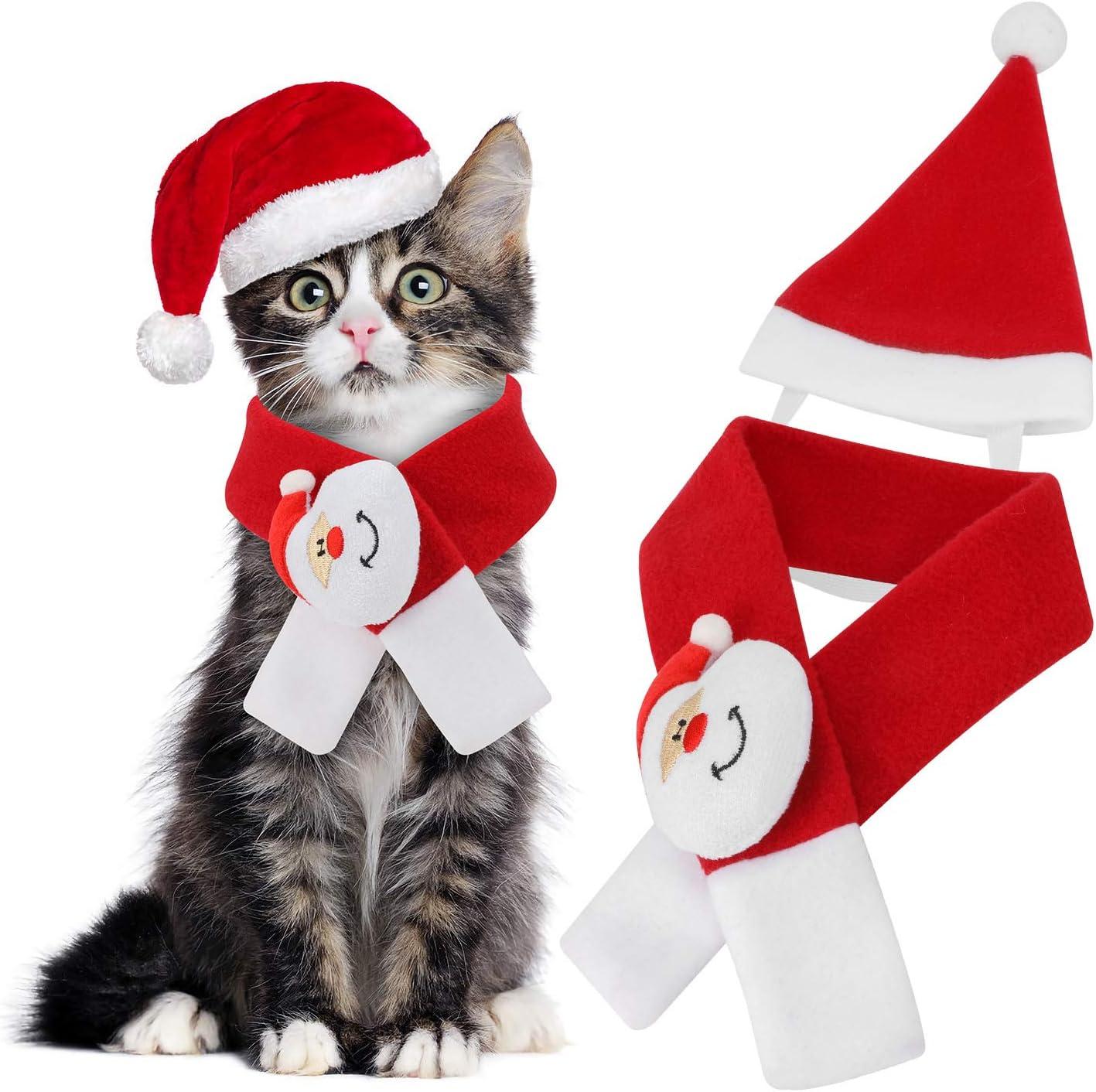 Disfraces de Navidad para mascotas, bufanda navideña con gorro de Papá Noel para gatos / perros, disfraces de cosplay, mascotas, Navidad, día de acción de gracias, fiesta de año nuevo
