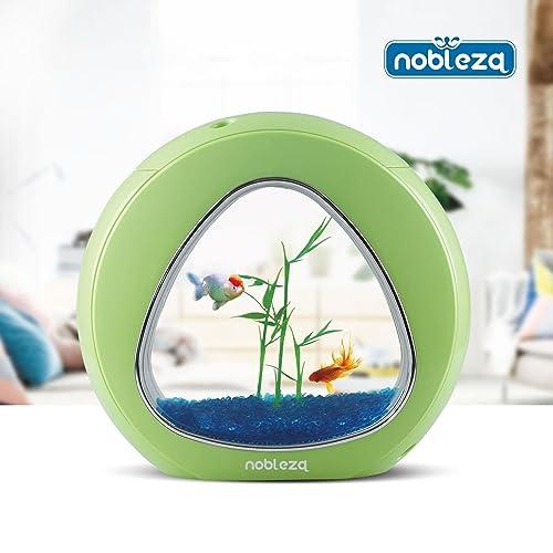 Nobleza 030033 - Acuario pecera de diseño moderno con ventana de cristal color Verde. Capacidad de 4L