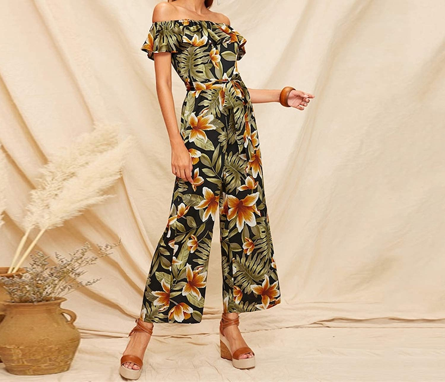 Fragrancety Foldover Off The Shoulder Ruffle Belted Wide Leg Boho Jumpsuits for Women Summer Holiday Wear Casual Jumpsuit,Multi,XS