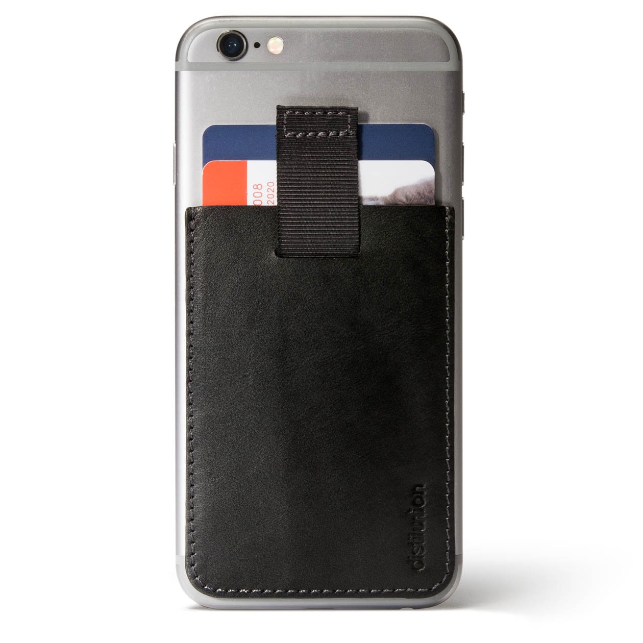 Distil Union Wally Junior - Slim, Secret Leather Wallet and Card Holder for Smartphones, the Only Leather Stick-On Wallet with Pull-Tab by Distil Union