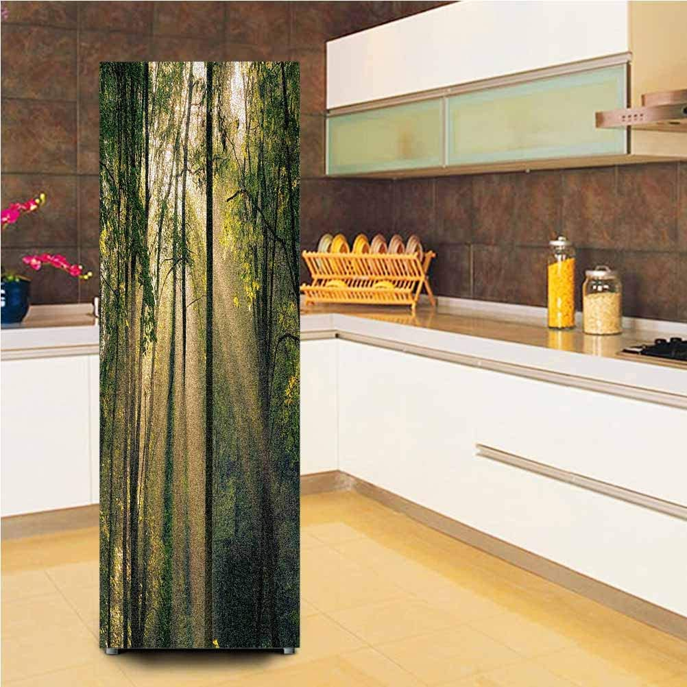 "3D Door Wall Fridge Door Stickers Mural,Morning Sunrays Shining Through Trees Summertime Countryside Scenic View Vinyl Door Cover Refrigerator Stickers,24x59"",for Refrigerator,Green Beige Black"