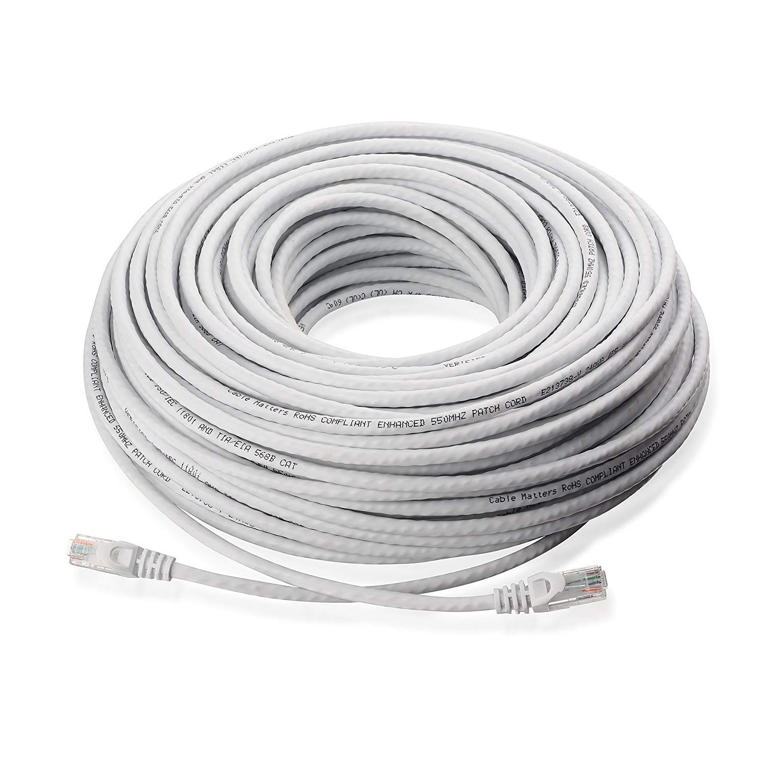 75 ft Cat5 Cable CAT5E RJ45 LAN Network Ethernet Router Switch White Patch cord