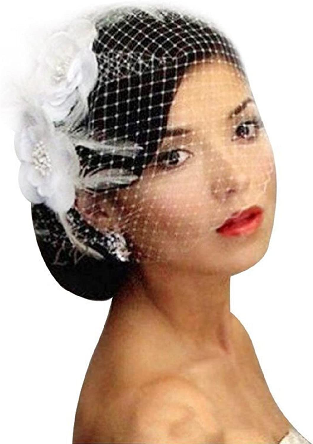 Birdcage Veil Feather Comb /& Austrian Crystals /& Rhinestones White or Ivory