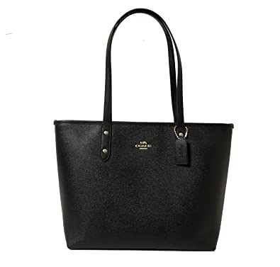 4dae274771a2e Amazon.com  Coach Black Cross-grain Leather City Zip Top Tote  Shoes