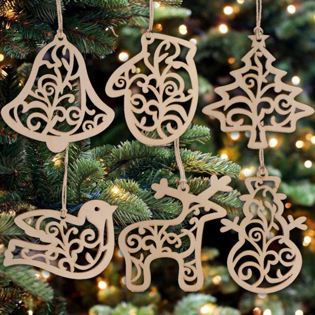 Happyyami Wood Pendant DIY Crafts Wall Hanging Hollow-Out Creative Hanging Decor for Christmas Festival
