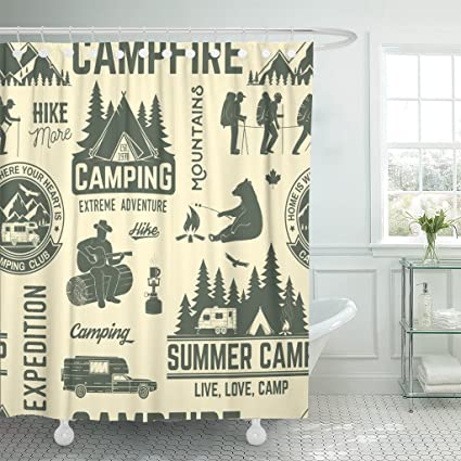 TOMPOP Shower Curtain Summer Camp Retro With Rv Trailer Tent Mountain Campfire Hiker And Forest Silhouette