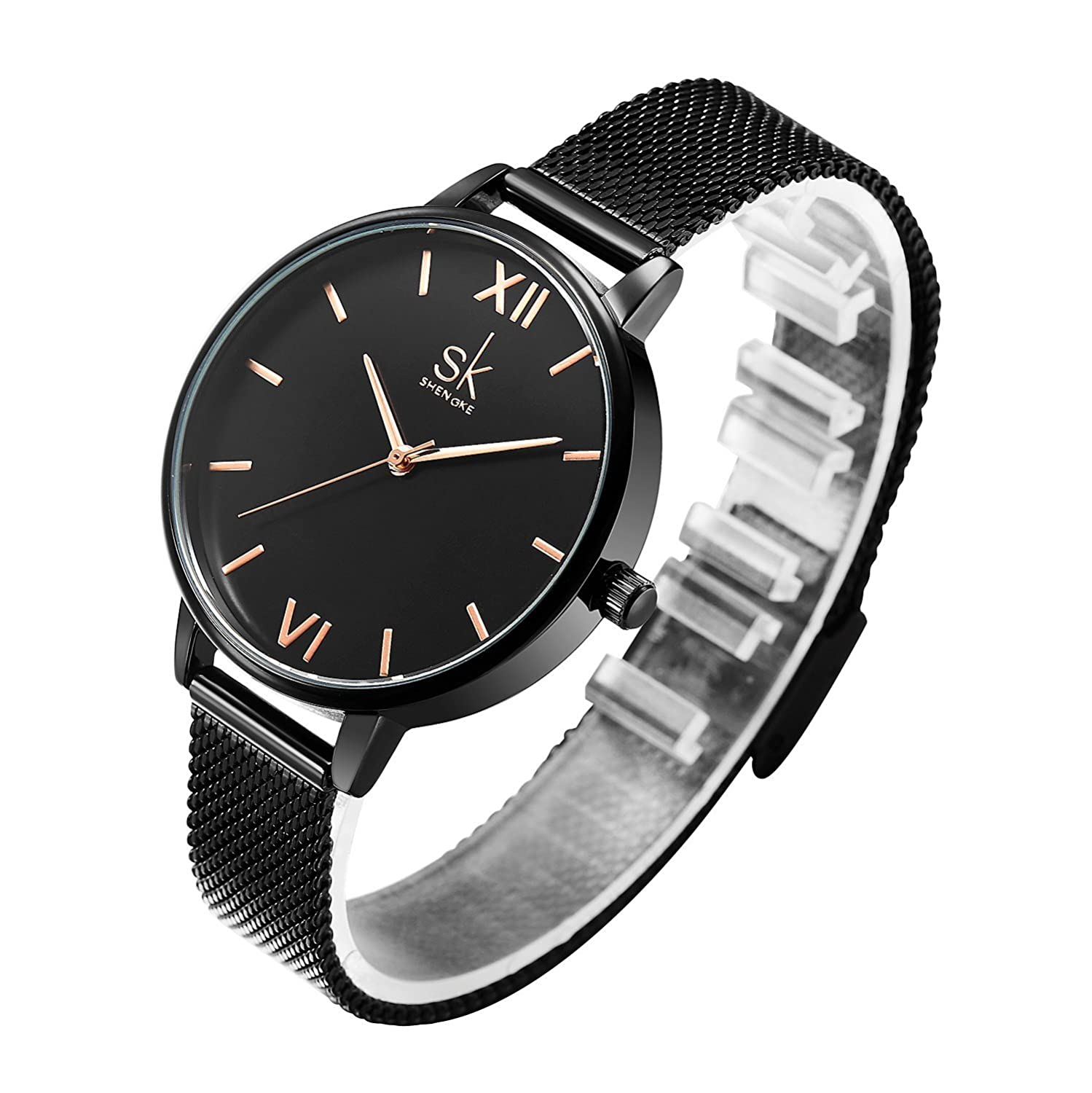 Amazon.com: SHENGKE Creative Simplicity Women Watch Mesh Band Elegant Women Watches Ladies Business Wristwatch: Watches