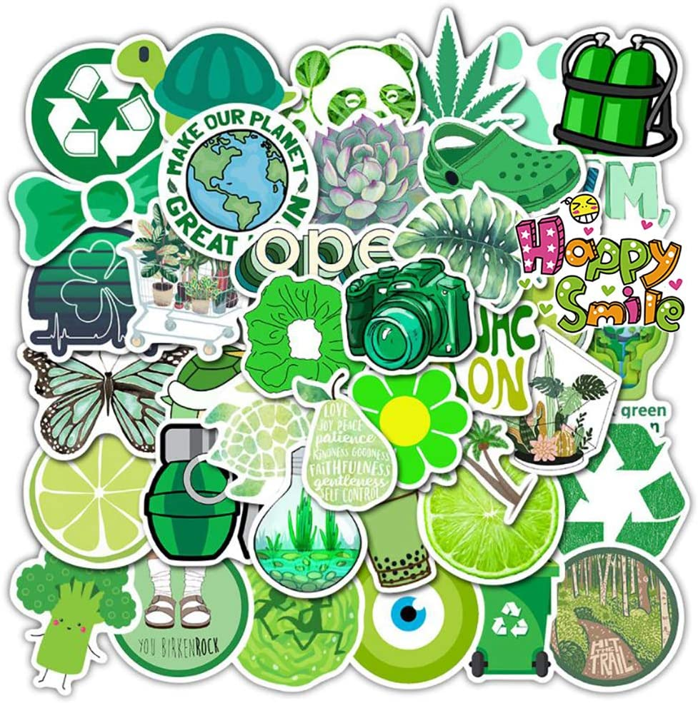 Cute Green Stickers for Water Bottles, 51 Pcs Hydro Flask Stickers Trendy Laptop Stickers Guitar Computer iPhone iPad Car Skateboard Stickers Decals for Teen Girls Kids