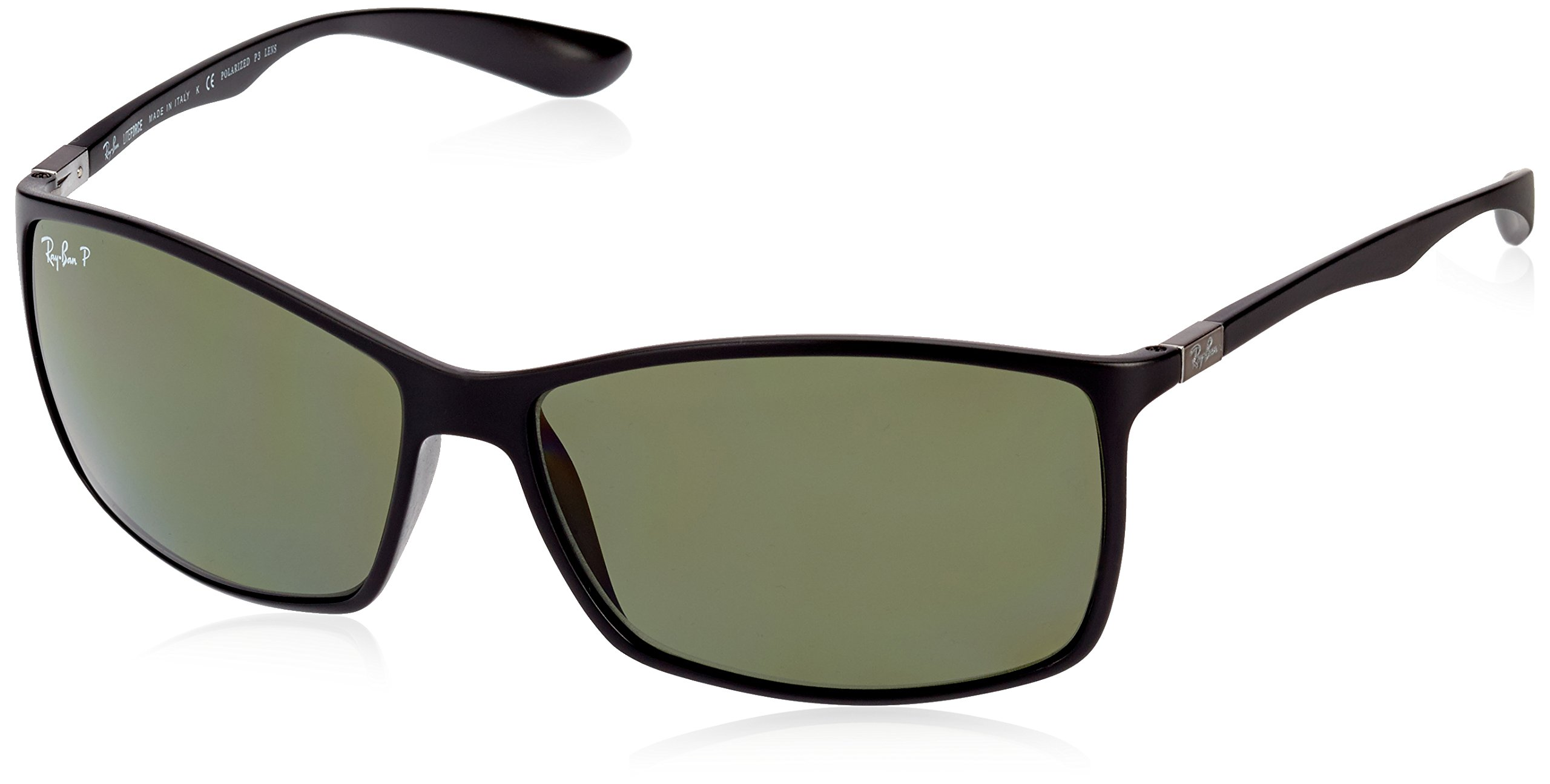 Ray-Ban Men's RB4179 Liteforce Square Sunglasses, Matte Black/Polarized Green, 62 mm