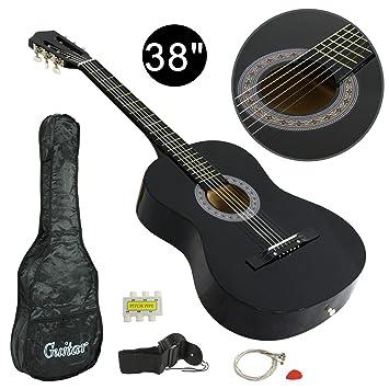 Amazon.com: LEMY Juego de principiantes de guitarra acústica ...