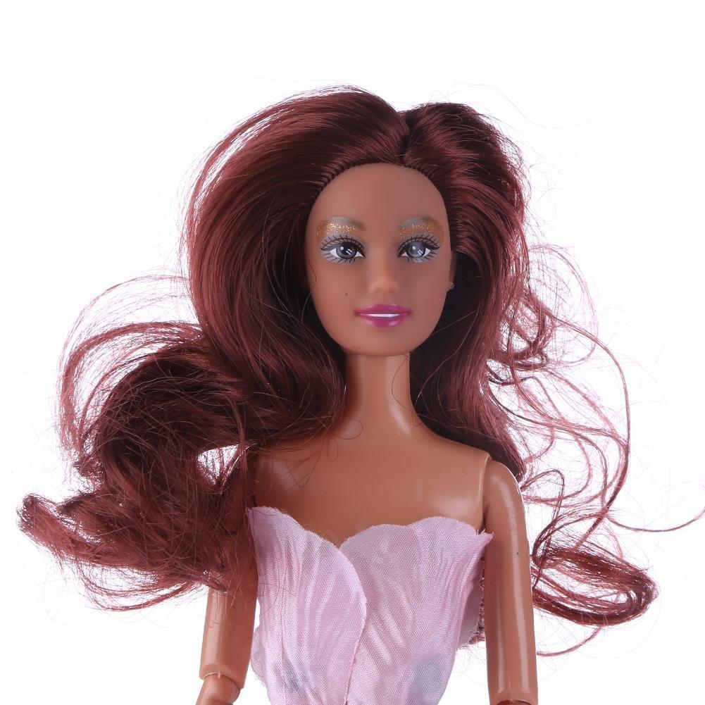 Domybest 1pcs Testa di Bambola con Capelli per Bambole Barbie Accessori per Giocattoli Fai da Te Regalo per Ragazza Capelli Ricci Marroni