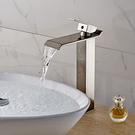 Oulantron Countertop Waterfall Bathroom Sink Faucet Single Lever ...