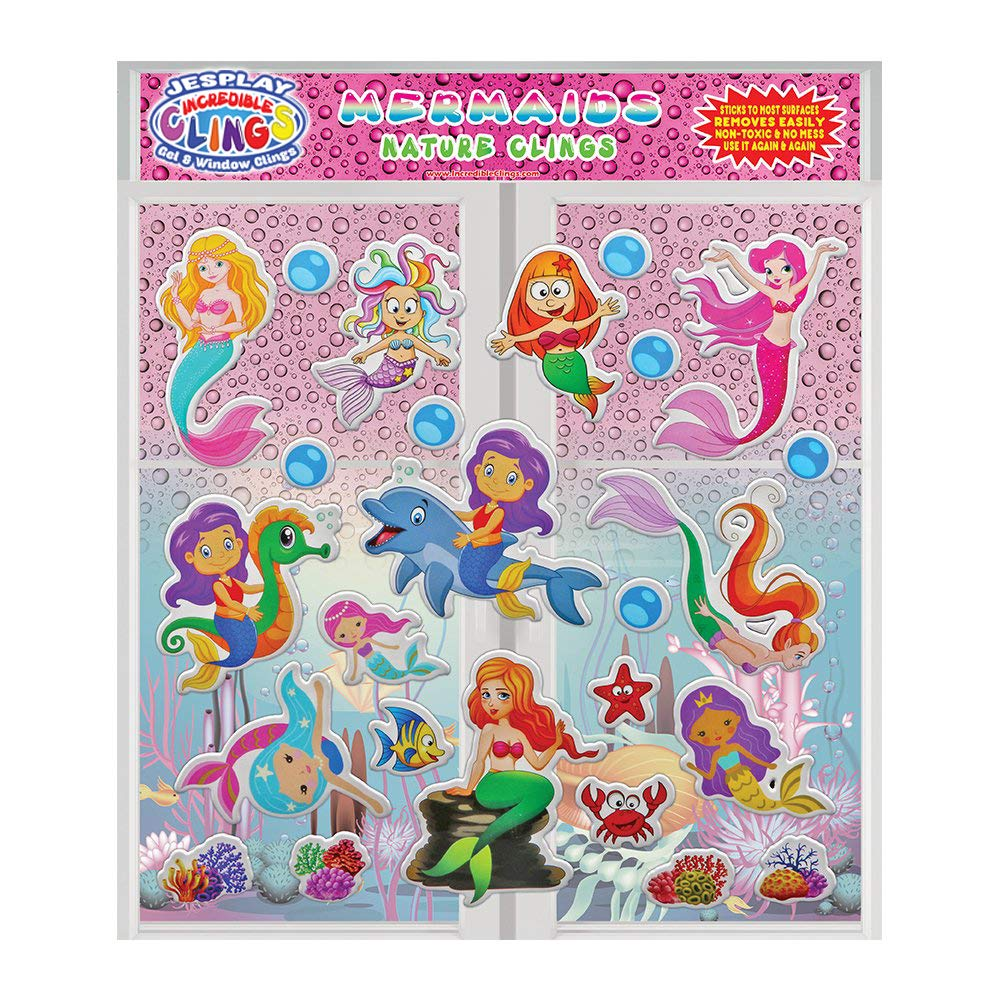Bubbles Mermaids Dolphins Reusable Puffy Sticker Window Clings for Kids and Toddler Shells /& More Fish JesPlay Mermaids by Incredible Gel and Window Clings