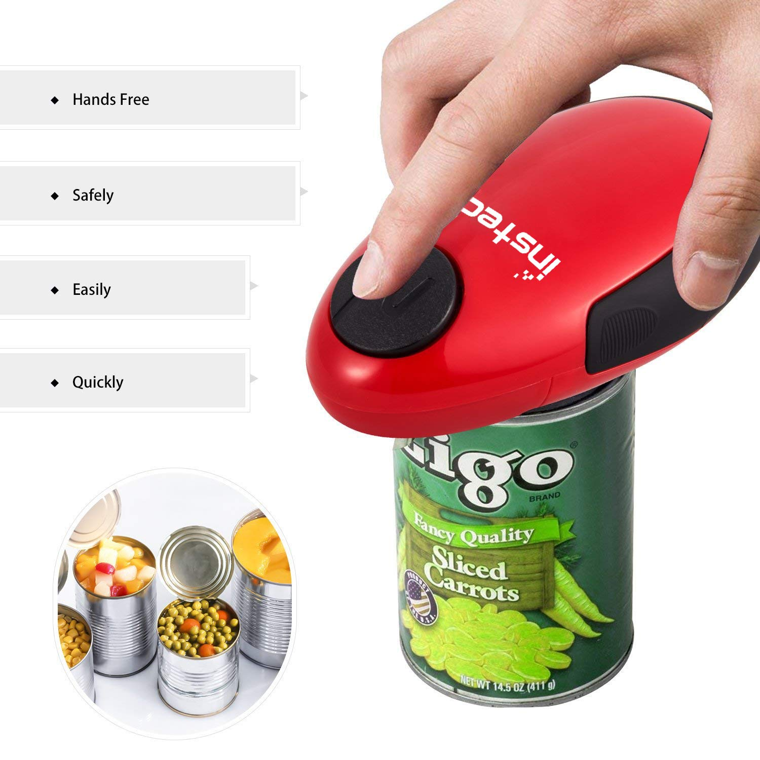 Electric Can Opener, Cakie Restaurant Can Opener Smooth Soft Edge One-touch Battery Automatic Electric Hands-free Can Opener For Kitchen Arthritis Elderly Travel and Chef's Best Choice's (Red) by instecho (Image #7)