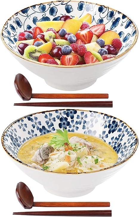 DOITOOL Laege Ceramic Bowl Ramen Bowl Soup Bowl Noodles Bowl Asian Dish Instant Noodle Bowl Noodle Container for Home Restaurant 700ml S