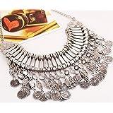 Gypsy Bohemian Vintage Gold Coin Turkish Beachy Bib Statement Necklace(Silver) by TRURENDI