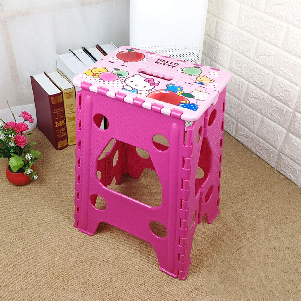 B Haolichairs Cute Small Folding Step Stool Plastic Multi Purpose Slip Resistant Top Step Foldable Easy Storage Home Kitchen Max Load 200kg  H45cm (color   D)