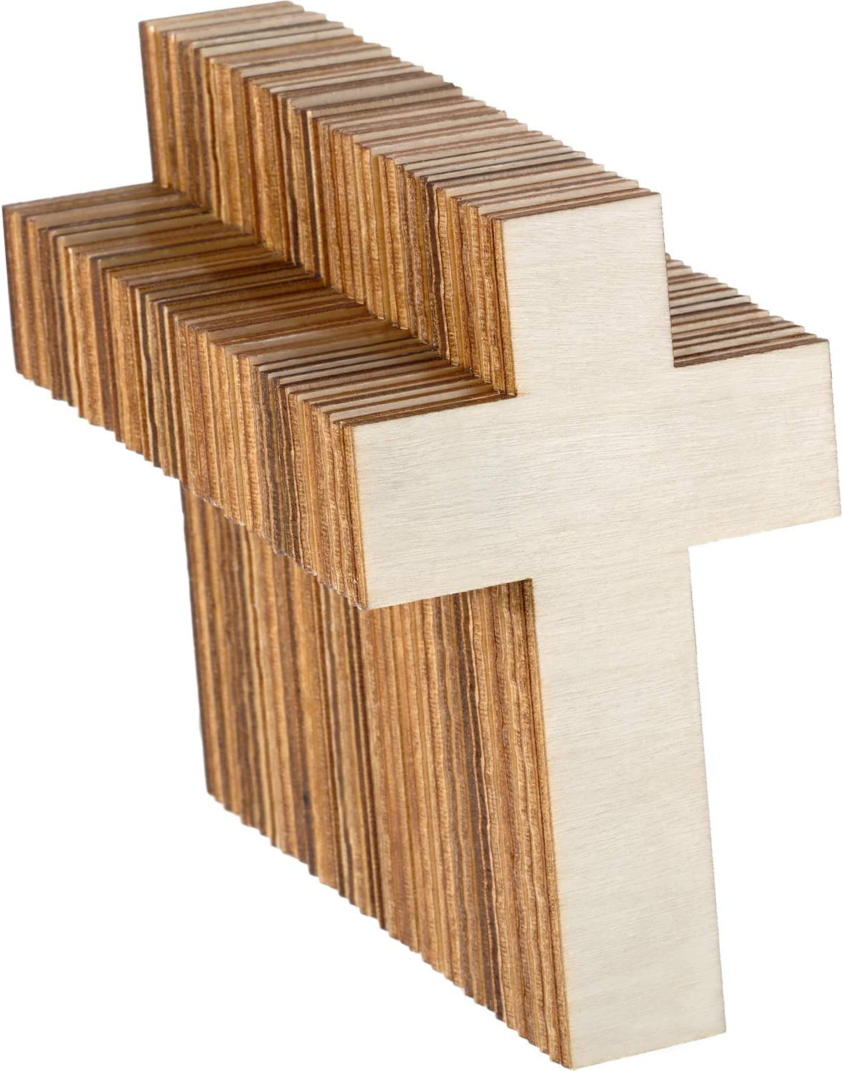 3 Unfinished Wooden Cross Shapes Cutouts DIY Crafts 4.25 Inches