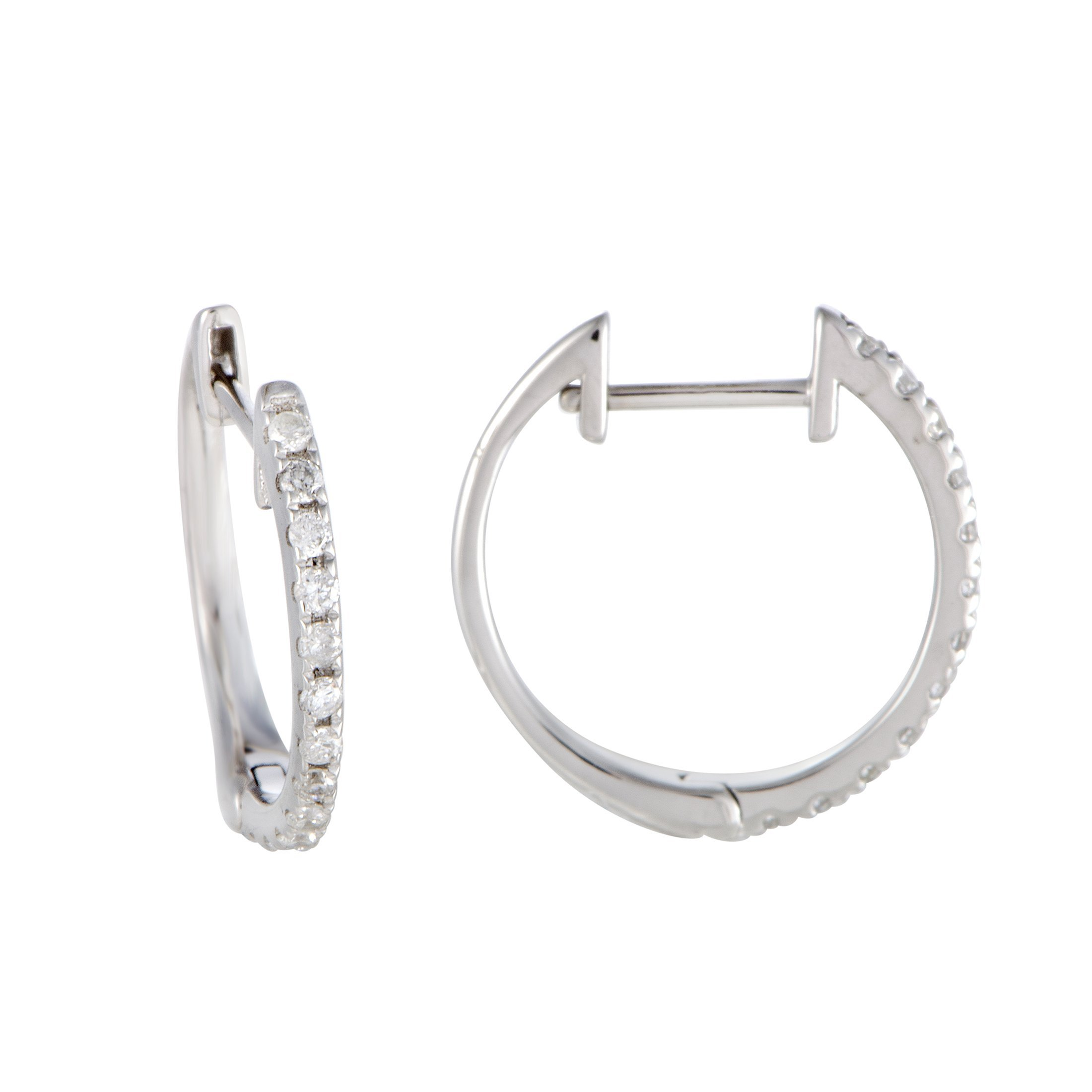 Sparkling 0.5'' Diamond Hoop Earrings in 10K White Gold; 0.20 Carats of Brilliant Diamonds (white-gold) by Luxury Bazaar (Image #3)