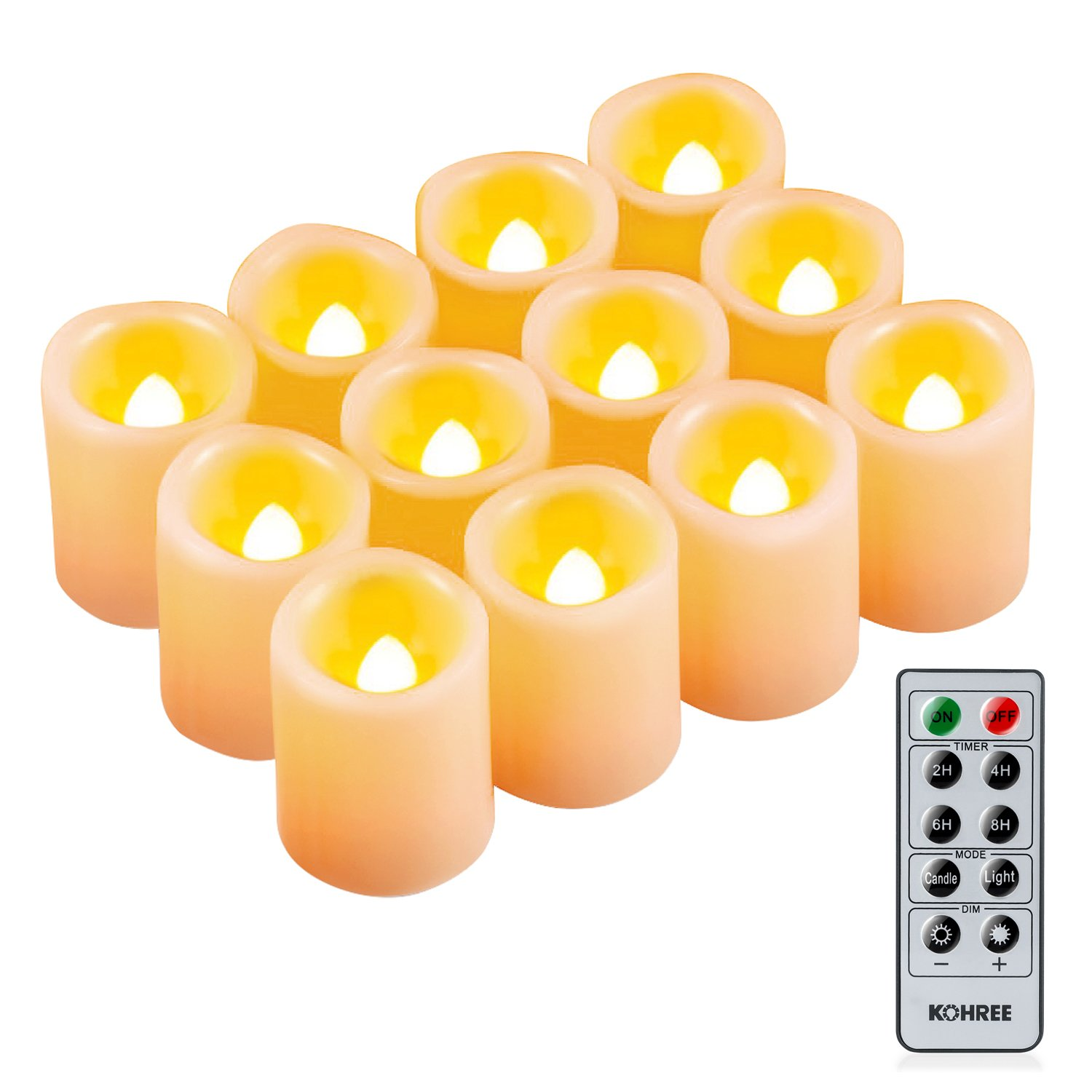Kohree Flameless Battery Operated LED Pillar Candles Unscented Ivory Votive Remote Candles with Remote Control & Timer, Amber Yellow Flame(12 Set) by Kohree
