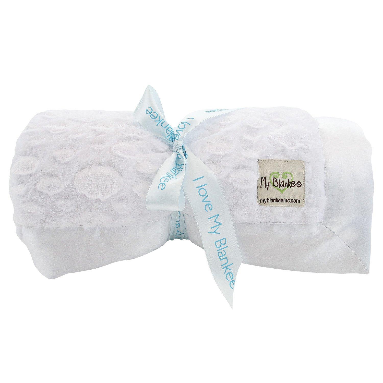 My Blankee Luxe Stone Throw Blanket with Flat Satin Border, White, 52'' X 60''