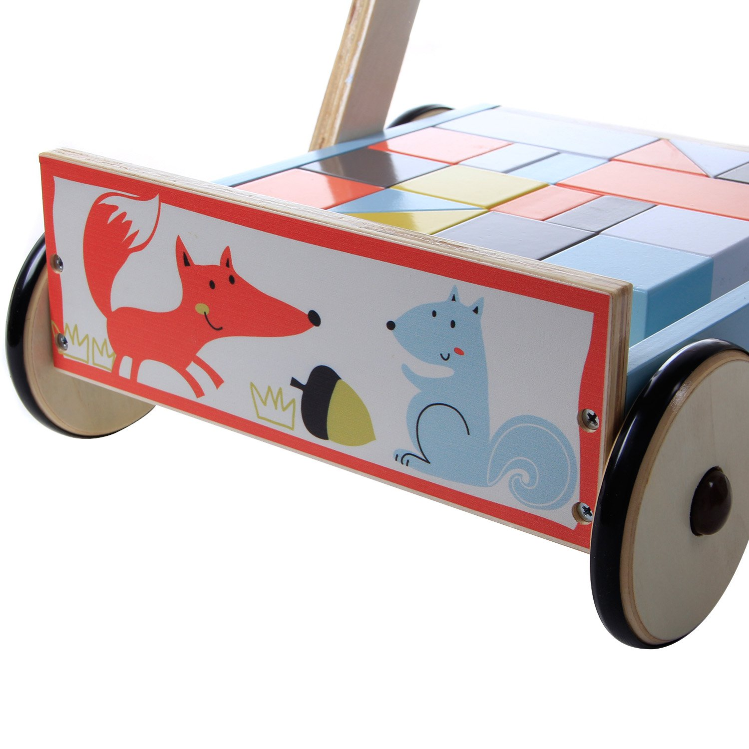 hessie Wooden Baby Walker Sit-to-Stand de Doble Uso con Bloques ...