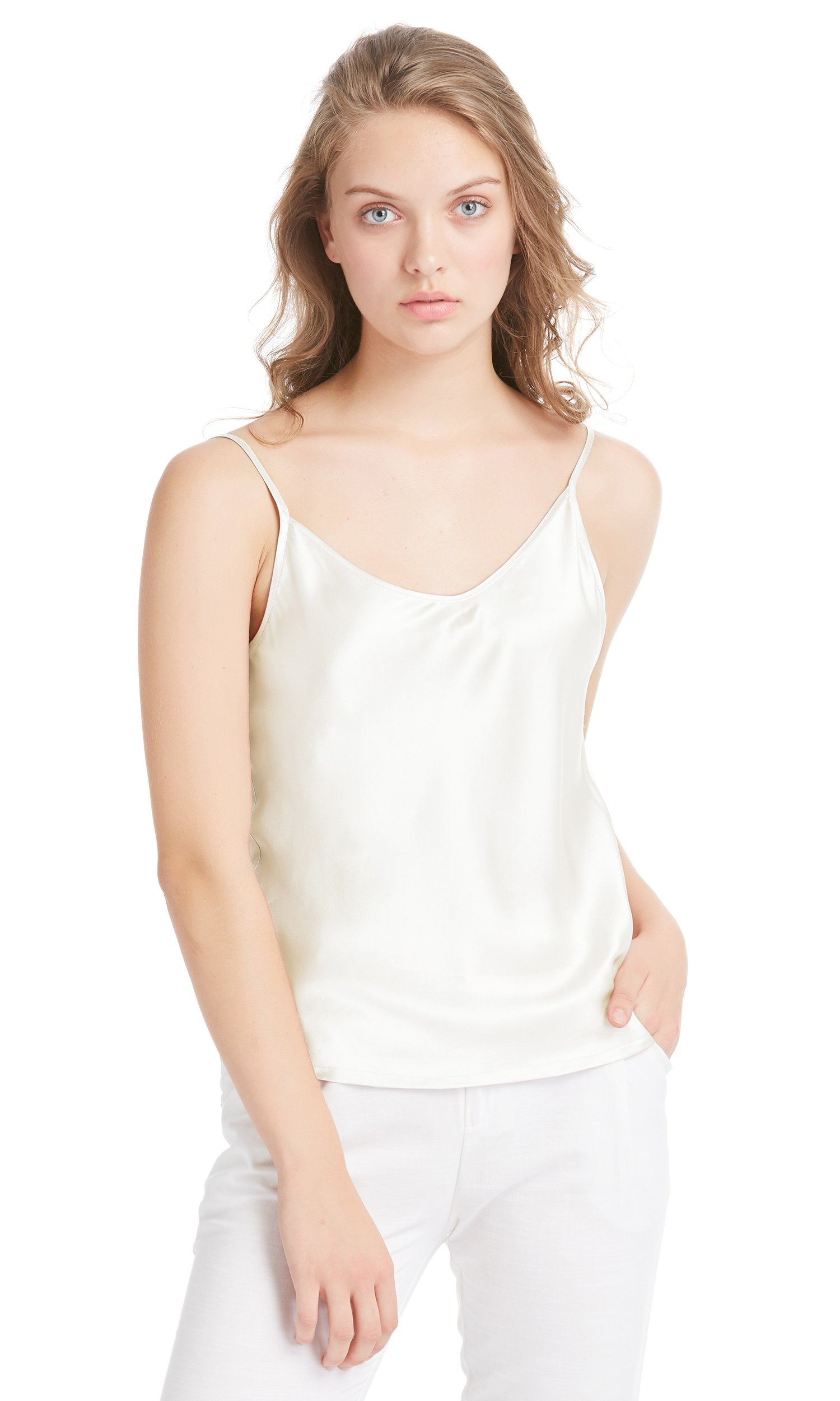 LilySilk Womens Silk Camisole 100 Pure Mulberry Silk Tank Tops & Ladies Cami Top with Soft Satin Ivory S/4-6