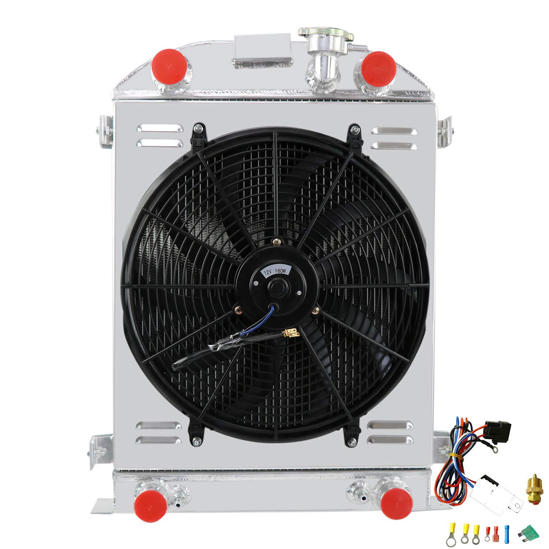 ALLOYWORKS 3 Row Performance Aluminum Cooling Radiator+Shroud Fan+Relay For 1932-1940 Ford Flathead Engine V8 / 1930-1931 Model-A