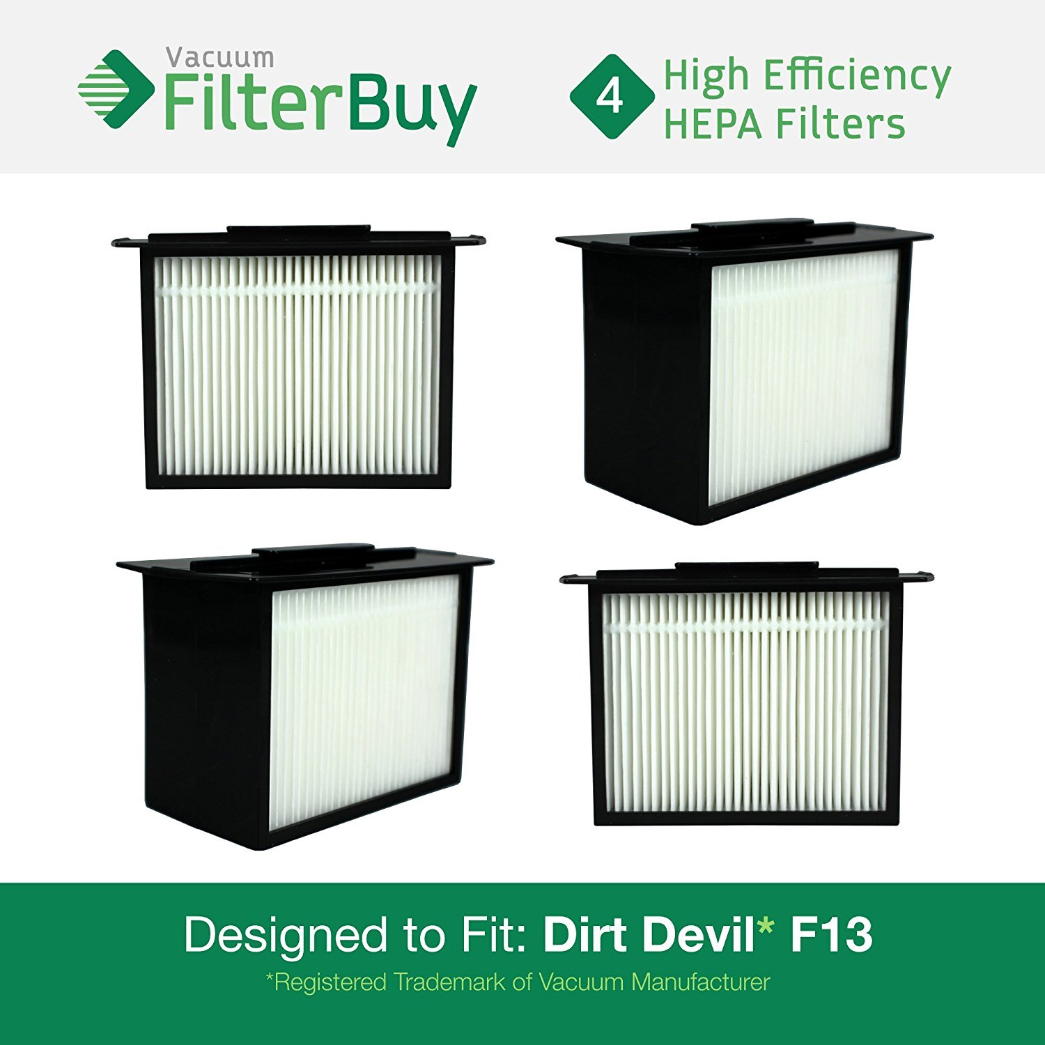 4 - Dirt Devil F-13 (F13) HEPA Replacement Filters, Part # 3LK0540001. Designed by FilterBuy to fit Dirt Devil Reaction Dual Cyclonic, Reaction All-Surface, Reaction Fresh and Action Vacuum Cleaners LEPAC7536