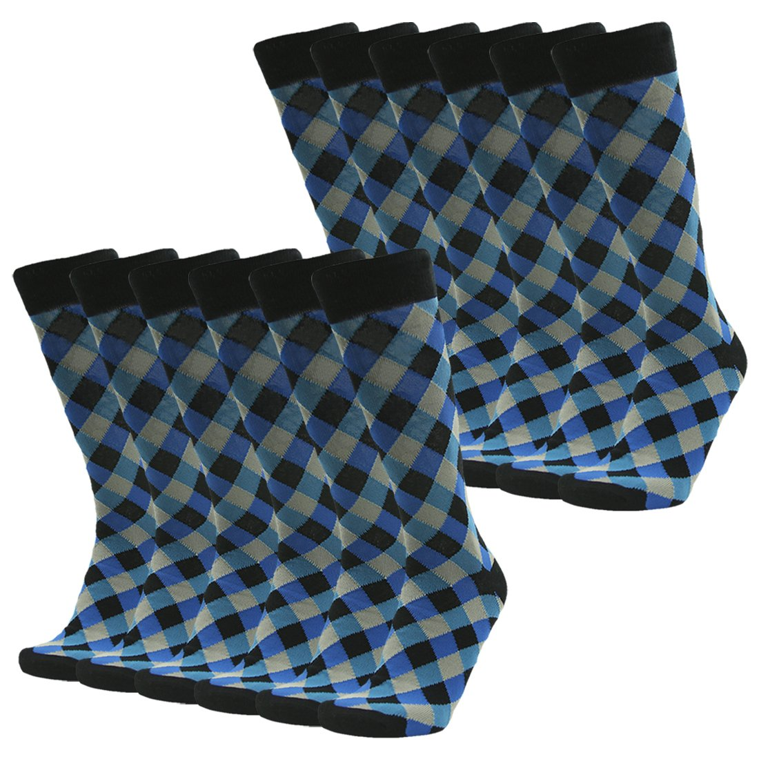 Groomsmen Wedding Socks, SUTTOS Men's Youth Crazy Fun Suit Socks Blue Black Diamond Sharp Fashion Design Big & Tall Stretchy Boot Sock,12 Pairs of Luxury Clothes Apparel Business Gifts Husband Father