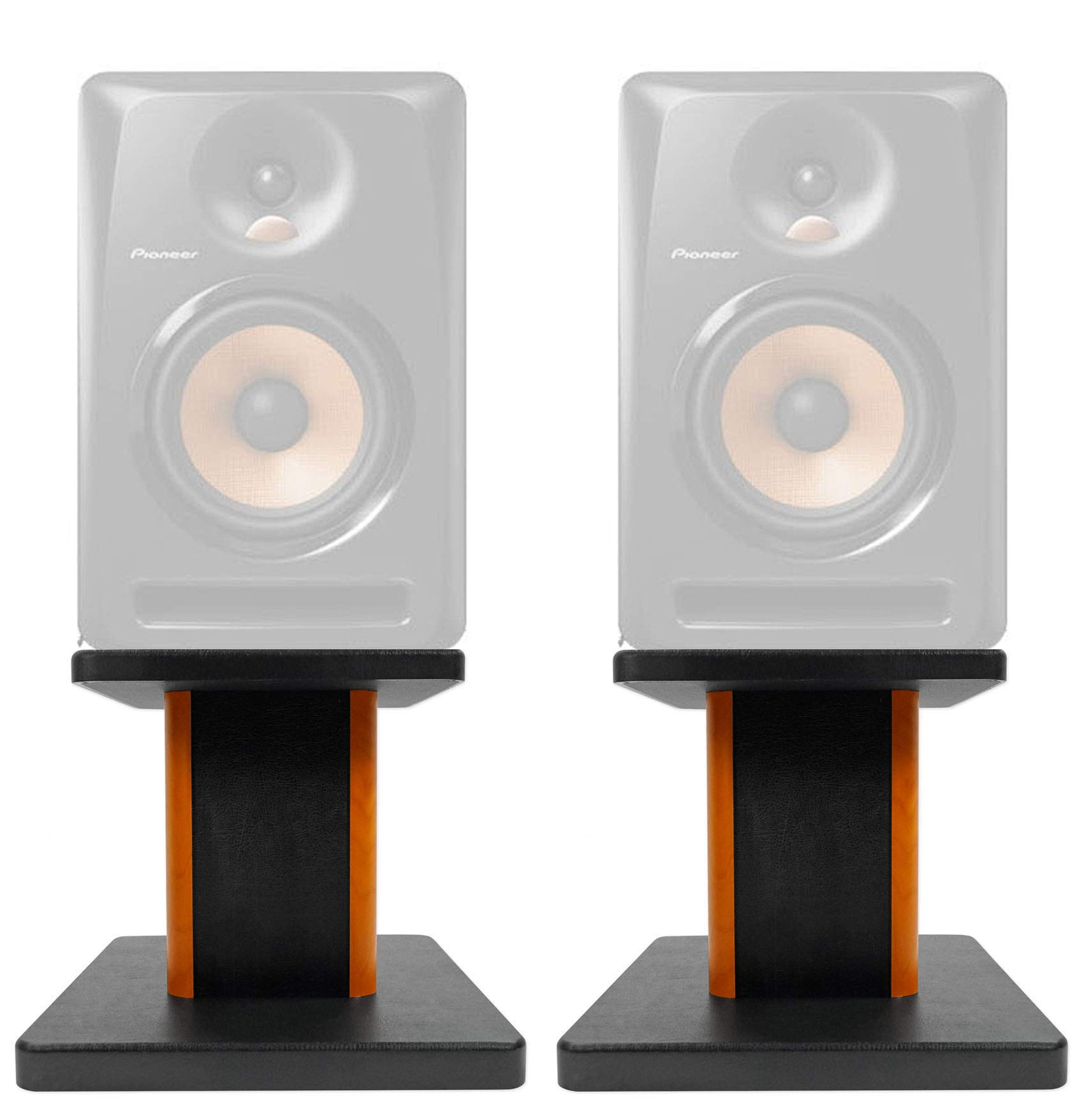 ROCKVILLE 8'' Wood Studio Monitor Speaker Stands for Pioneer DJ Bulit6 by ROCKVILLE