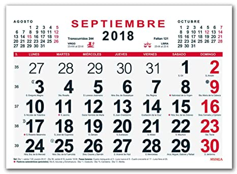 Calendario In Spagnolo.Myrga Calendario Da Parete Del 2018 In Spagnolo 30x21 Cm