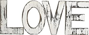Carrick & Cross Rustic White Wood Love Block Home Sign - Freestanding Wooden Letters or Wall Hung