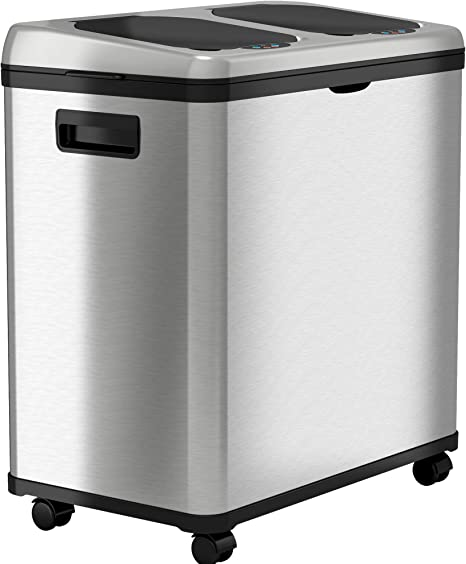 Amazon Com Itouchless 16 Gallon Touchless Sensor Trash Can Recycle Bin Stainless Steel Dual Compartment 8 Gallon Each 60 Liter Kitchen Recycling And Garbage Waste Solution Home Kitchen