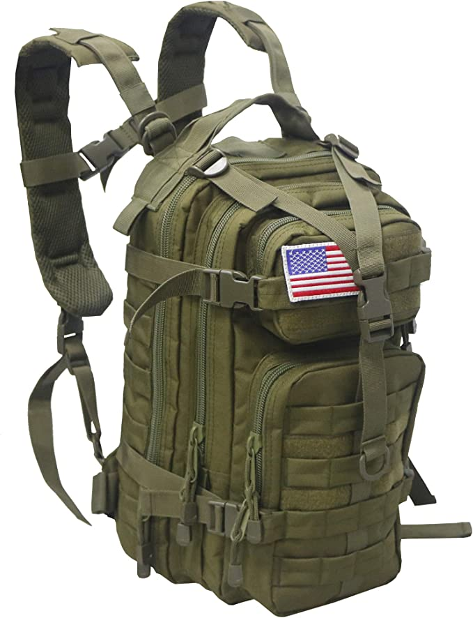 Photo of a green tactical backpack, mole webbings seen on front, buckle locks for support on both sides and at the center