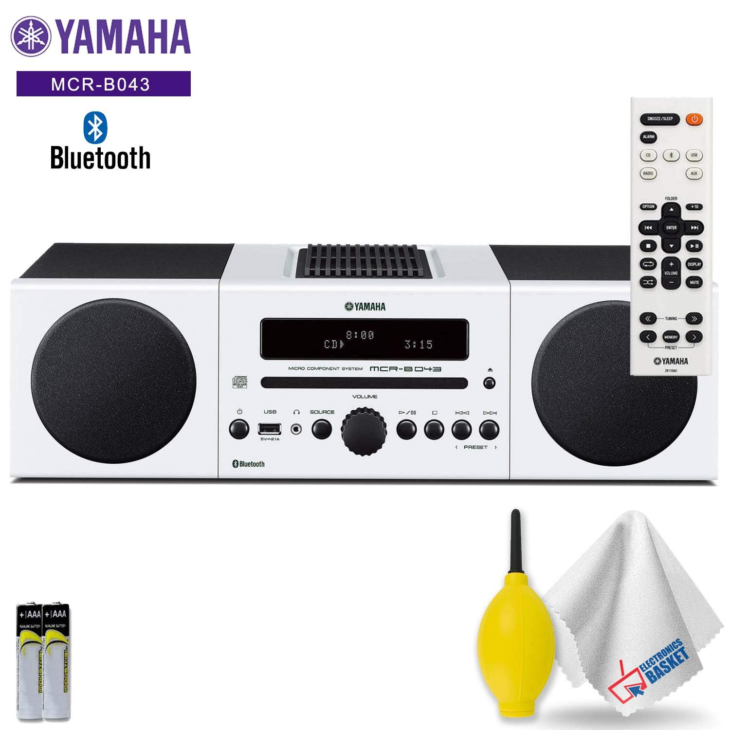 Yamaha MCR-B043 30W Bluetooth Wireless Music System (White) Accessory Kit - Includes - Cleaning Kit by Electronics Basket
