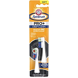 Arm & Hammer Spinbrush PRO+ Deep Clean Powered Toothbrush Replacement Brush Heads (Refills), Soft, 2 Count
