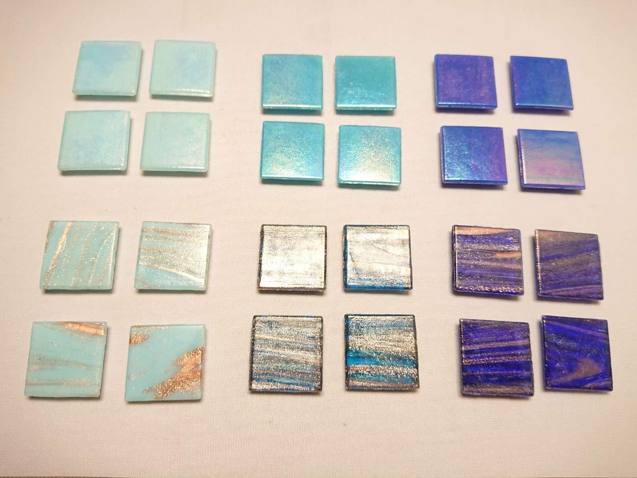 Happy-Mosaic Glas Mosaiksteine Set 1200g Edel Mosaik Blau 6 Unifarben mit Effekt