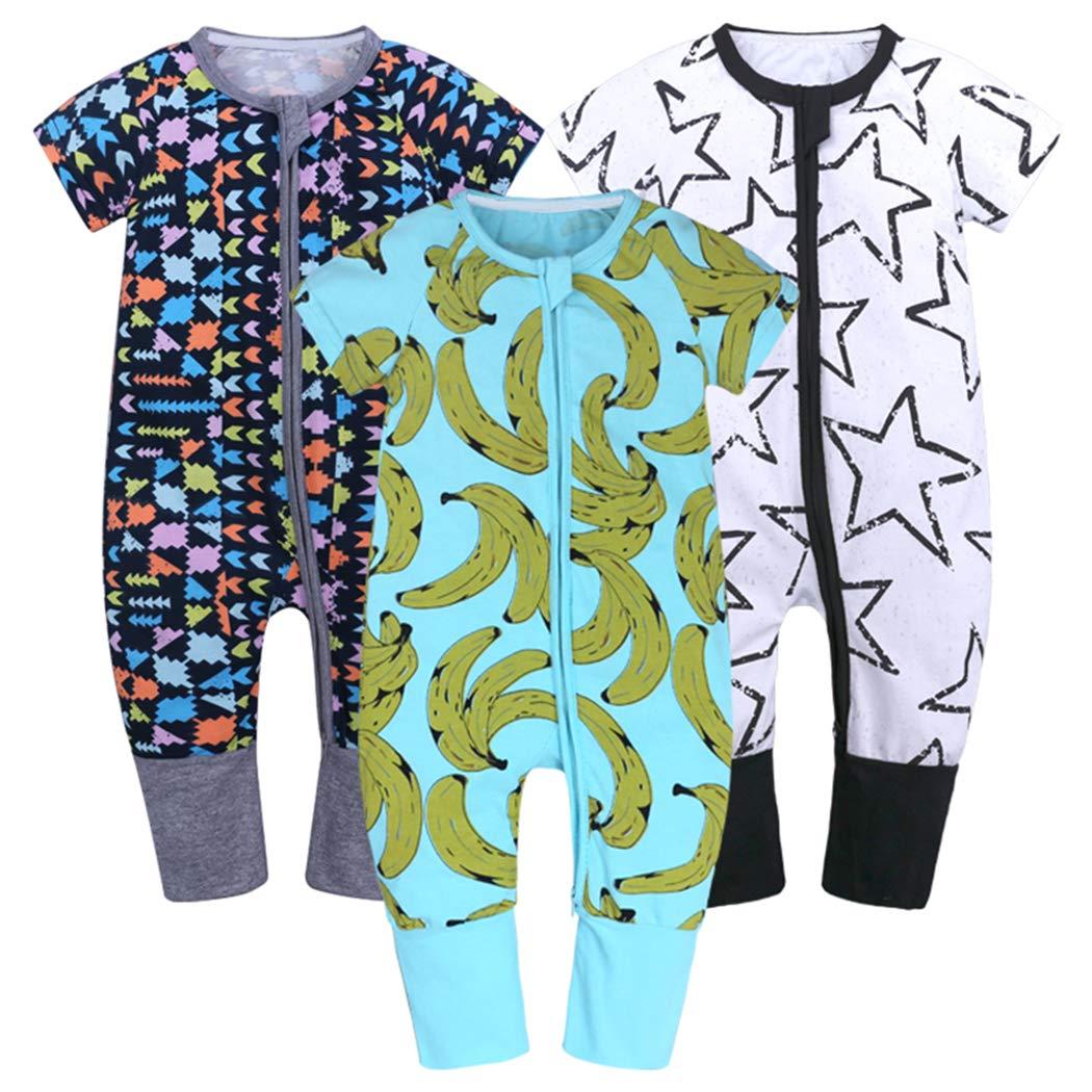 Mary ye Baby Boys 3-Pack Short Sleeve Zipper Romper Onesies Cotton Jammies PJS
