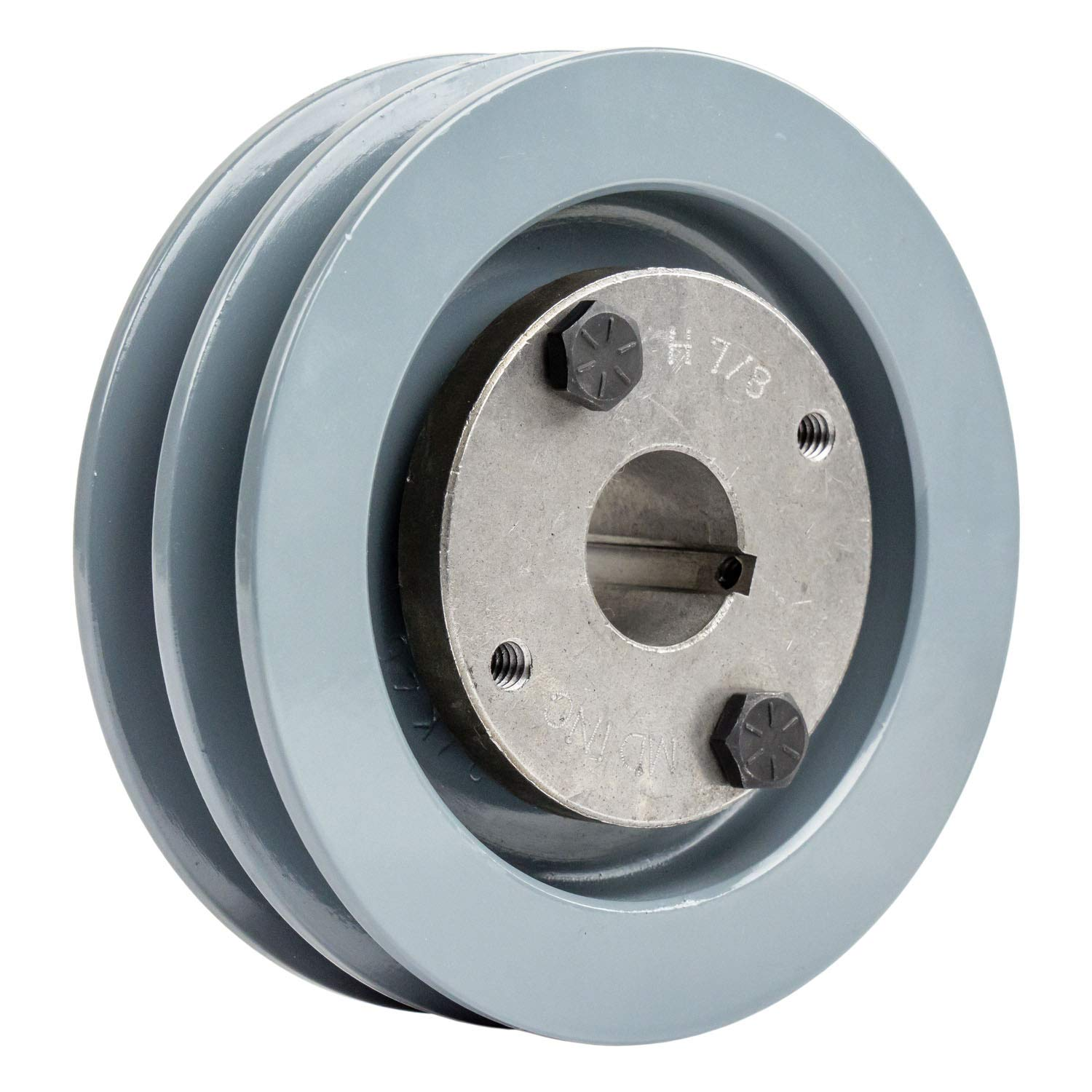 Cast Iron 3.5 2 Groove Dual Belt A Section 4L Pulley with 3//4 Sheave Bushing