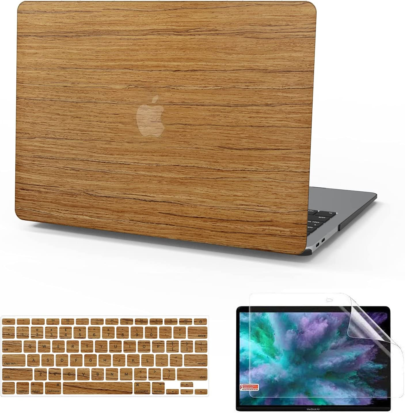 Anban Compatible with MacBook Air 13 Inch Case A1369 & A1466, Older Ver 2010-2017 Release, Wood Hard Corner Protective Shell Cover with Keyboard Cover + Screen Skin, MacBook Air 13.3 inch Case, Teak