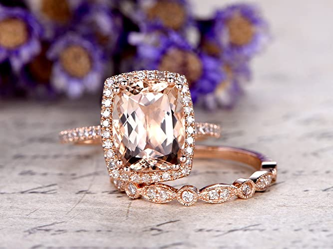 b7bc1f7881e74 Amazon.com: 8x10mm Cushion Cut Big Natural Pink Morganite Solid 14k ...