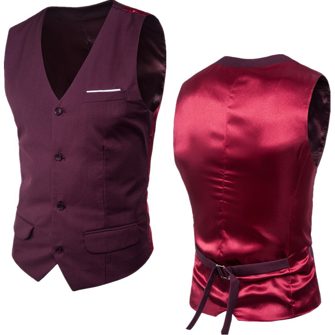 7dress Men's Slim Fit Suit Vests V-Neck Formal Business Sleeveless Dress Bridegroom Suit Separate Waistcoat
